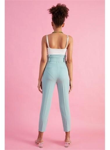 Z Giyim Kadın  Mavi  Kemerli Yüksek Bel Kumaş Pantolon Yeşil